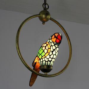 ティファニーライト ペンダントライト ステンドグラスランプ 照明器具 オシャレ オウム型 1灯