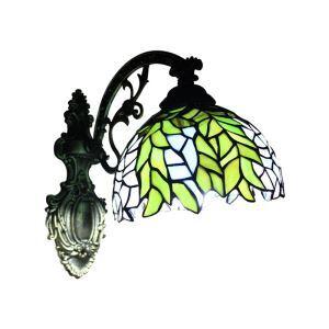 ティファニーライト 壁掛け照明 ステンドグラスランプ ブラケット 玄関照明 緑葉 1灯 LTWL010