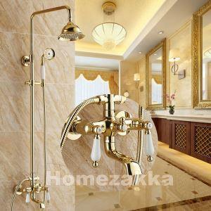 浴室シャワー水栓 レインシャワーシステム シャワーバー バス水栓 ヘッドシャワー+ハンドシャワー+蛇口 混合栓 金色 Ti-PVD