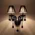 壁掛けライト ウォールランプ 照明器具 玄関照明 クリスタル 黒色 2灯
