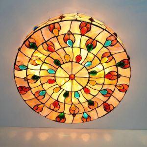 ステンドグラス照明 シーリングライト ティファニーライト 照明器具 クジャク柄 3灯