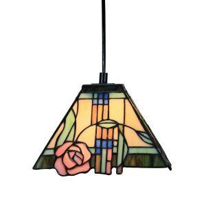 ペンダントライト ティファニーライト ステンドグラスランプ 照明器具 天井照明 バラ柄 D25cm LTPL202