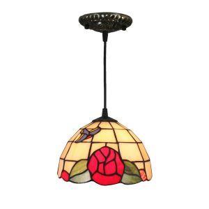 ペンダントライト ステンドグラスランプ ティファニーライト 照明器具 玄関照明 花柄 D20cm LTPL239