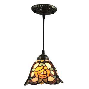 ペンダントライト ステンドグラスランプ ティファニーライト 照明器具 玄関照明 バラ柄 D20cm LTPL247