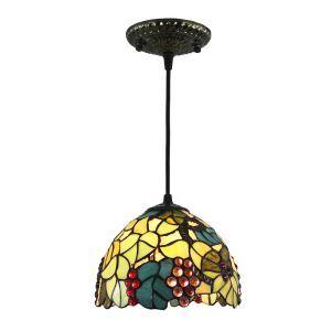 ペンダントライト ステンドグラスランプ ティファニーライト 照明器具 玄関照明 ブドウ柄 D20cm LTPL248