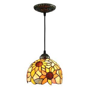 ペンダントライト ステンドグラスランプ ティファニーライト 照明器具 玄関照明 ひまわり柄 D20cm LTPL252