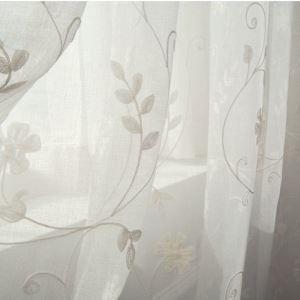 シアーカーテン オーダーカーテン レースカーテン 白色 花柄 刺繍 田舎風(1枚)