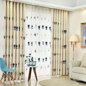 遮光カーテン オーダーカーテン 木柄 刺繍 子供屋 2色 3級遮光カーテン(1枚)