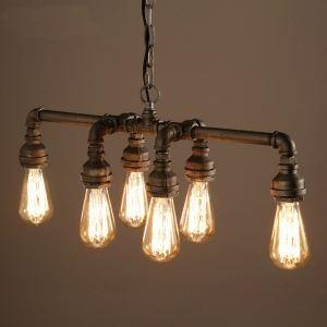 ペンダントライト 照明器具 天井照明 パイプライト Loft工業風 ビンテージ 店舗 寝室 リビング 6灯