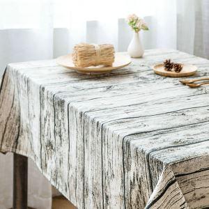テーブルクロス テーブルカバー 撥水加工 木柄 北欧風 100*140cm 4人掛け用 LM007