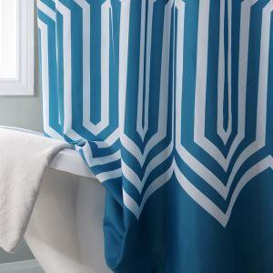 シャワーカーテン バスカーテン 防水防カビ 浴室 プリントカーテン シンプル 1枚 両サイズ 青色 WC045