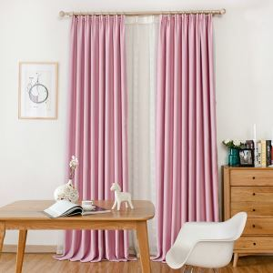 遮光カーテン オーダーカーテン ピンク 無地柄 寝室 子供屋 1級遮光カーテン(1枚)