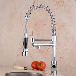 キッチン蛇口 冷熱混合栓 台所蛇口 シンク用水栓 水道蛇口 2吐水口 クロム