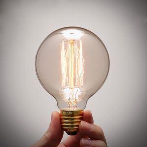 エジソン電球 ハロゲン電球 口金E26 G80 40W ビンテージ