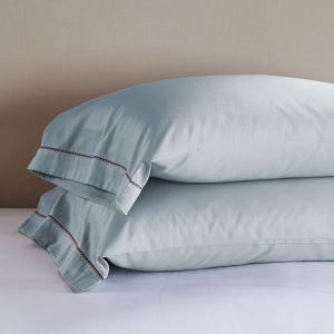 枕カバー ピロケース コットンサテン 刺繍パイピング 封筒式 2点入り B2002