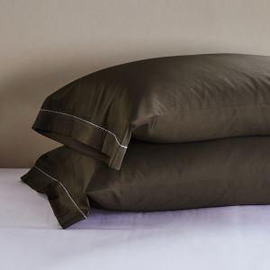 枕カバー ピロケース コットンサテン 刺繍パイピング 封筒式 2点入り B2006