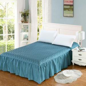 ベッドスカート シーツ 寝具カバー シンプル 青緑 キルティング 180*200cm B5003