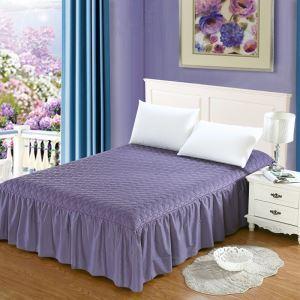 ベッドスカート シーツ 寝具カバー シンプル 紫色 キルティング 150*200cm B5008