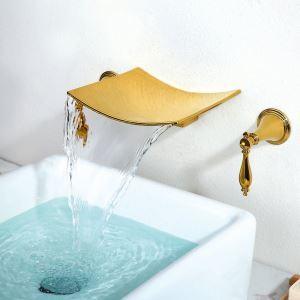 壁付蛇口 洗面水栓 バス蛇口 冷熱混合栓 水栓金具 2ハンドル TI-PVD HY457
