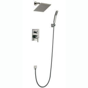 埋込形シャワー水栓 レインシャワーシステム バス蛇口  ヘッドシャワー+ハンドシャワー ヘアライン HY458