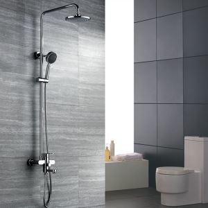 浴室シャワー水栓 レインシャワーシステム ヘッドシャワー+ハンドシャワー+蛇口 バス水栓 混合栓 クロム HY478