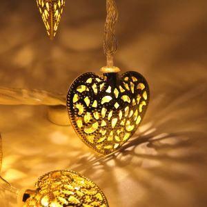 LEDイルミネーションライト LEDストリングライト ハート型照明 防水 電池式 パーティー 祝日飾り