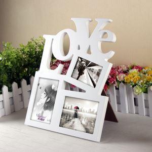 写真立て フォトフレーム 写真用額縁 インテリアフレーム フォトデコレーション 壁掛け 木製 3連 白色 LOVE