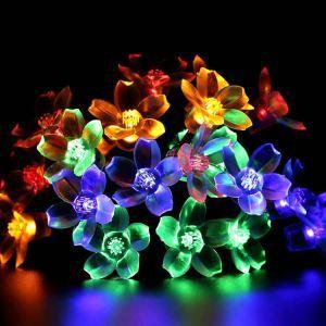 LEDイルミネーションライト LEDストリングライト ソーラーライト 桃花型照明 防水 パーティー 祝日飾り