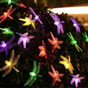 LEDイルミネーションライト LEDストリングライト ソーラーライト トンボ型照明 防水 パーティー 祝日飾り