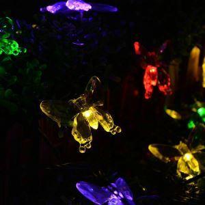 LEDイルミネーションライト LEDストリングライト ソーラーライト 蝶型照明 防水 パーティー 祝日飾り