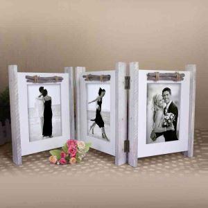 写真立て フォトフレーム 写真用額縁 インテリアフレーム フォトデコレーション 木製 3連 折畳み