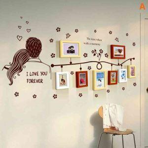 壁掛けフォトフレーム 写真用額縁 インテリアフレーム フォトデコレーション 木製 8枚セット 複数枚 恋人