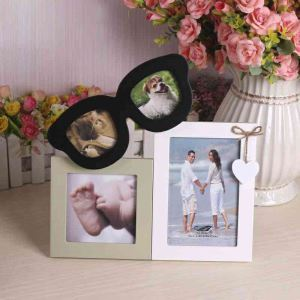 写真立て フォトフレーム 写真用額縁 インテリアフレーム フォトデコレーション 木製 2連 メガネ型