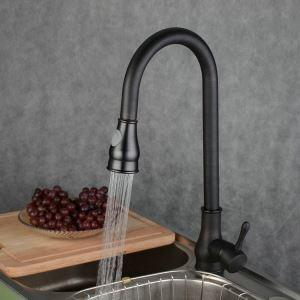 キッチン蛇口 台所蛇口 引出し式水栓 冷熱混合水栓 真鍮製 ORB