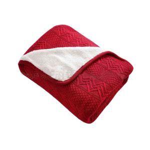 ニット毛布 ブランケット ひざ掛け 掛け毛布 絨毯 裏起毛 赤色 02DT001