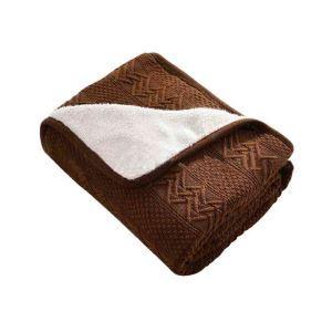 ニット毛布 ブランケット ひざ掛け 掛け毛布 絨毯 裏起毛 コーヒー色 02DT002