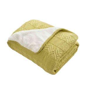 ニット毛布 ブランケット ひざ掛け 掛け毛布 絨毯 裏起毛 黄緑 02DT003