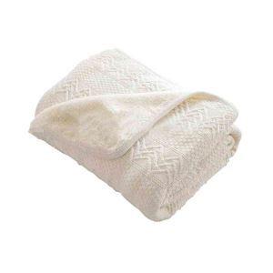 ニット毛布 ブランケット ひざ掛け 掛け毛布 絨毯 裏起毛 ホワイト 02DT005