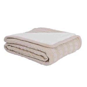 ニット毛布 ケーブルニット ブランケット 膝掛け 掛け毛布 裏起毛 ベージュ 120*180cm