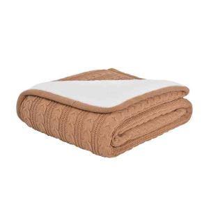 ニット毛布 ケーブルニット ブランケット 膝掛け 掛け毛布 裏起毛 120*180cm