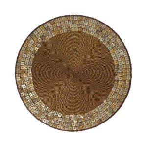 ランチョンマット プレースマット テーブルマット ビーズ編み 手作り シェル&ガラス玉 TL006