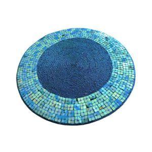 ランチョンマット プレースマット テーブルマット ビーズ編み 手作り シェル&ガラス玉 青色 TL015