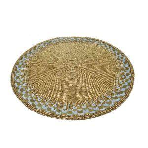 ランチョンマット プレースマット テーブルマット ビーズ編み 手作り スパンコール&ガラス玉 TL021
