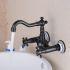 壁付水栓 キッチン蛇口 台所蛇口 冷熱混合栓 360度回転 真鍮製 ORB
