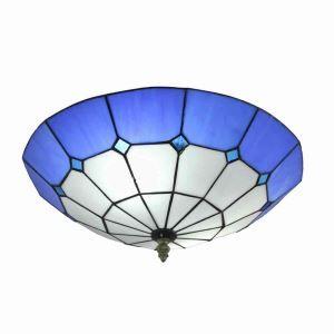 シーリングライト ティファニーライト ステンドグラス照明 玄関照明 青色 D40cm LTFM062