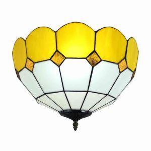 シーリングライト ステンドグラス照明 玄関照明 黄色 D40cm LTFM068