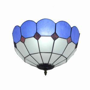 シーリングライト ステンドグラス照明 玄関照明 青色 D40cm LTFM070