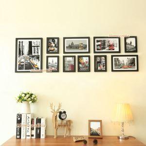 壁掛けフォトフレーム 写真用額縁 フォトデコレーション 黒い枠 10個セット 複数枚