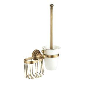 トイレブラシホルダー トイレ用品 トイレ掃除 トイレブラシ&ポット付き 真鍮製