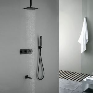 埋込形シャワー水栓 レインシャワーシステム バス水栓 ヘッドシャワー+ハンドシャワー+蛇口 吊上げ式 黒色